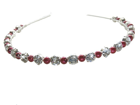 Wedding Headband - Red Pearls and Rhinestone - Diamante Wedding Headbands d6adef58318