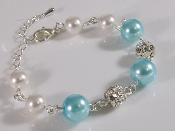 Blue Bridal Bracelet Pearl And Rhinestone Silver