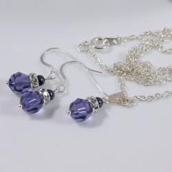 Purple Bridesmaids Jewelry Set, Weddings - Bridal Party Gift - Swarovski Pearls and Crystals