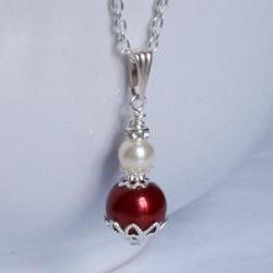 Bridesmaid Jewelry - Red Pearl Pendant - Red Bride, Bridesmaids - Red Wedding Jewellery